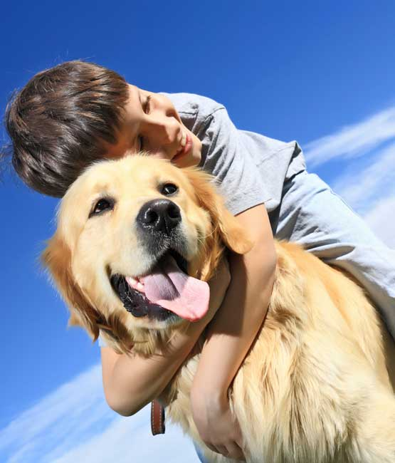 Boy and his pet dog